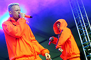 "South African Rap Rave group Die Antwoord comprised of Ninja and Yo-Landi Vi$$er and their DJ perform at the Voodoo Music Experience in New Orleans, Louisiana on Friday, October 26, 2012. The act recently took hits at Lady Gaga in their new music video ""Fatty Boom Boom."""