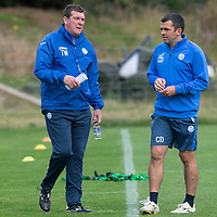St Johnstone FC Training...11.09.15<br /> Manager Tommy Wright pictured with Callum Davidson during training this morning ahead of tomorrow's game against Hamilton Accies<br /> Picture by Graeme Hart.<br /> Copyright Perthshire Picture Agency<br /> Tel: 01738 623350  Mobile: 07990 594431