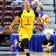 UNCASVILLE, CONNECTICUT- May 2:  Odyssey Sims #1 of the Los Angeles Sparks in action during the Los Angeles Sparks Vs New York Liberty, WNBA pre season game at Mohegan Sun Arena on May 2, 2017 in Uncasville, Connecticut. (Photo by Tim Clayton/Corbis via Getty Images)