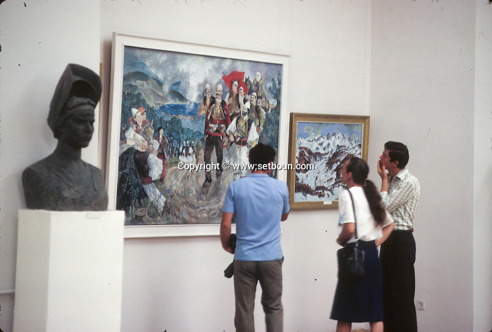 Abania in 1981 under the communist regime. Tirana. museum realist socialist art painting in the museum of Tirana  / musee de Tirana peinture et art realiste socialist Tirana  Albanie