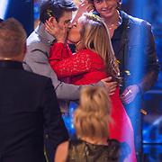 NLD/Hilversum/20130706 - Finale X-Factor 2013, Adriaan Persons, Angela Groothuizen en winnaar Haris Alagic