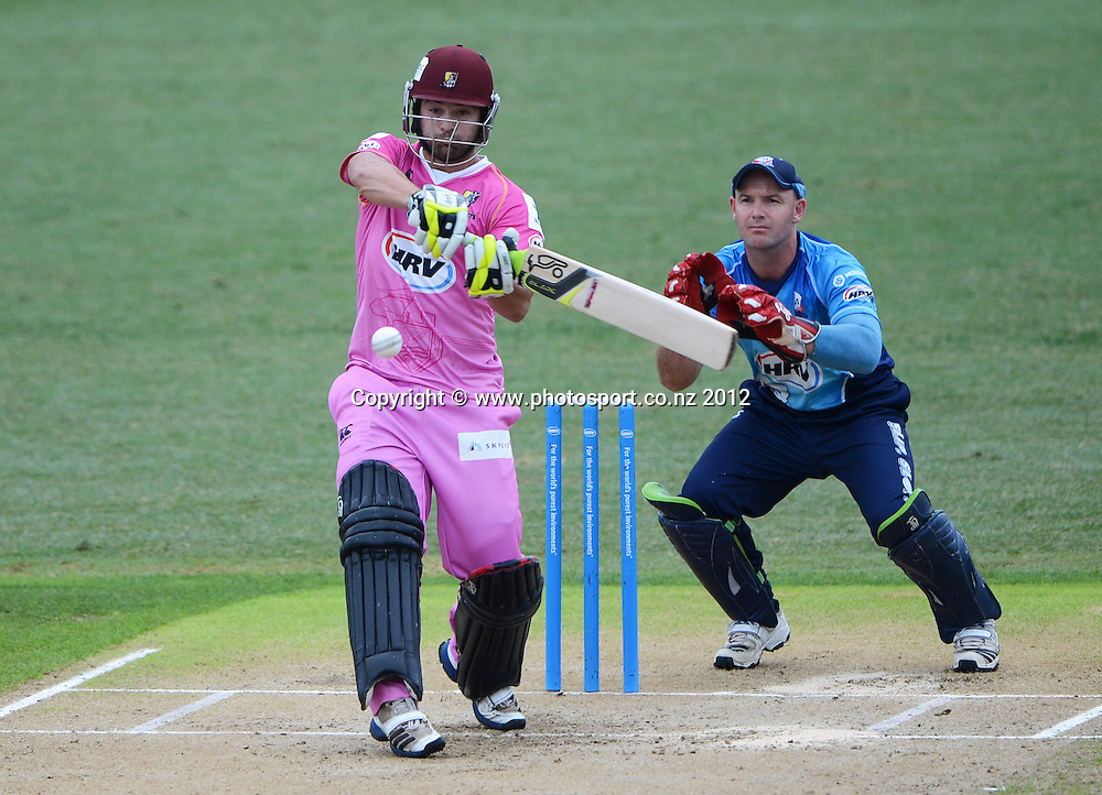 Anton Devcich batting during the HRV Cup Twenty20 Cricket match between Auckland Aces and Northern Knights at Eden Park's Outer Oval on Wednesday 26 December 2012. Photo: Andrew Cornaga/Photosport.co.nz