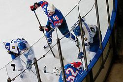 Andrej Tavzelj and Jaka Ankerst of Slovenia at ice-hockey match between Slovenia and Kazakhstan, on April 12, 2011 at Hala Tivoli, Ljubljana, Slovenia. (Photo By Matic Klansek Velej / Sportida.com)