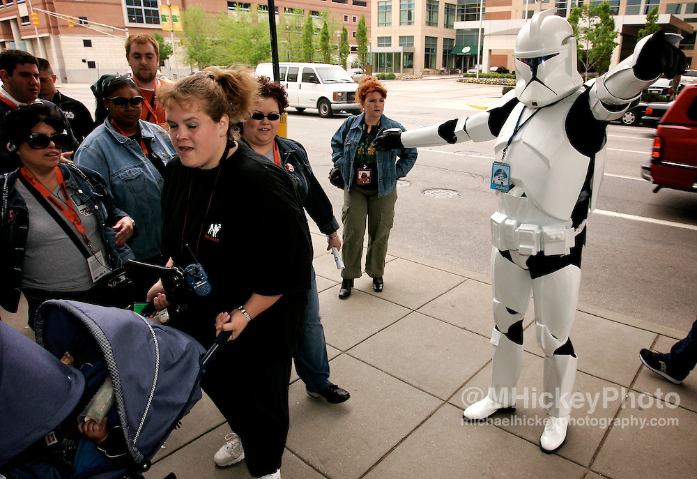 Stormtroopers guard the entrances at the Star Wars Celebration III convention in Indianapolis, IN. Photo by Michael Hickey