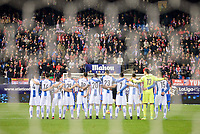 Atletico de Madrid's players and RCD Espanyol players during a silence minute in honor of Ex Atletico de Madrid's player Cléber Santana during match of La Liga between Atletico de Madrid and RCD Espanyol at Vicente Calderon Stadium in Madrid, Spain. December 03, 2016. (ALTERPHOTOS/BorjaB.Hojas)