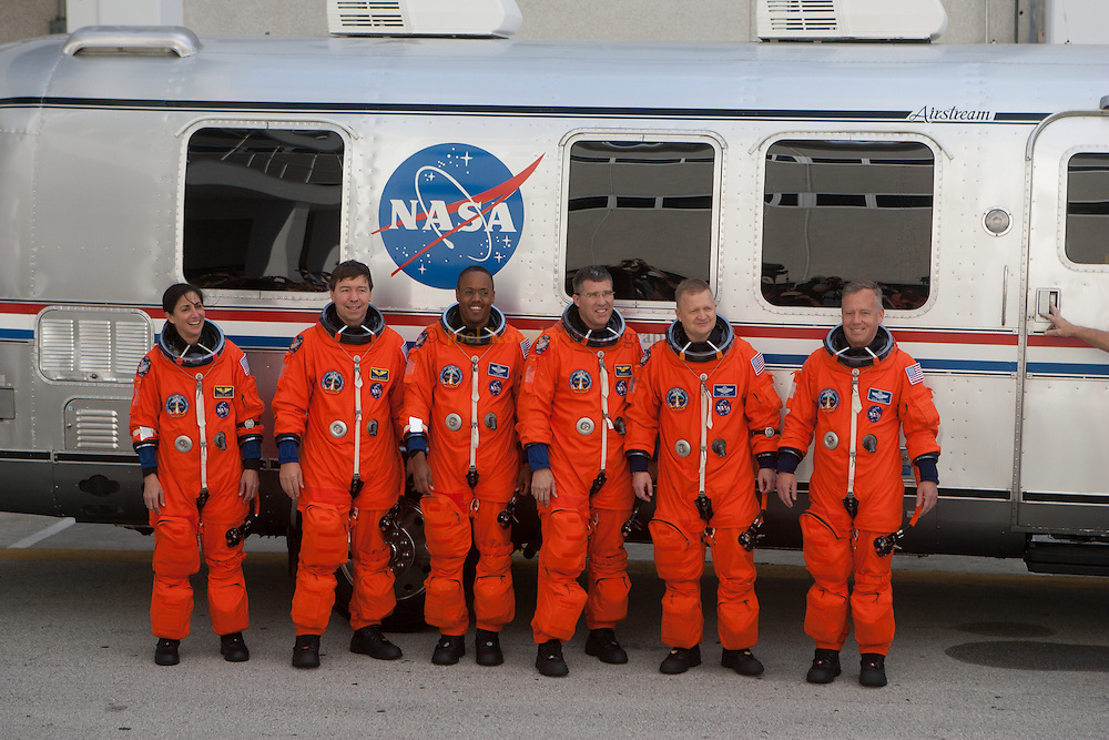 The astronauts of STS-133 depart for Pad 39A on February 24, 2011.  Discovery is set to lift-off around 4:50 p.m. EST on February 24, 2011 to deliver the Italian-built Permanent Multipurpose Module and Express Logistics Carrier 4 to the International Space Station.