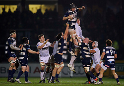 Bristol Number 8 (#8) Mitch Eadie wins a lineout during the first half of the match - Photo mandatory by-line: Rogan Thomson/JMP - Tel: Mobile: 07966 386802 25/01/2013 - SPORT - RUGBY - Memorial Stadium - Bristol. Bristol v Leeds Carnegie - RFU Championship.