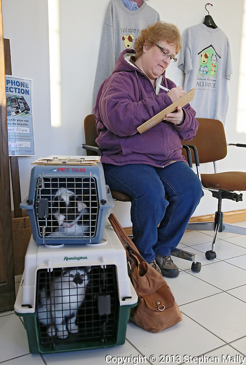Lee Mitchell of Cedar Rapids works on paperwork for her three cats at Iowa Humane Alliance, 6540 6th Street SW in Cedar Rapids on Monday, January 14, 2013.