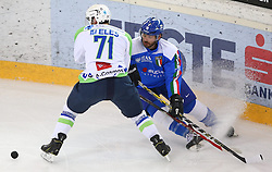 07.02.2015, Albert Schultz Eishalle, Wien, AUT, IIHF, Euro Ice Hockey Challenge, Italien vs Slowenien, im Bild Bostjan Golicic (Slowenien, SLO) und Daniel Tudin (Italien, ITA) // during the IIHF Euro Ice Hockey Challenge match between Italy and Slovenia at the Albert Schultz Ice Arena, Vienna, Austria on 2015/02/07. EXPA Pictures © 2015, PhotoCredit: EXPA/ Thomas Haumer
