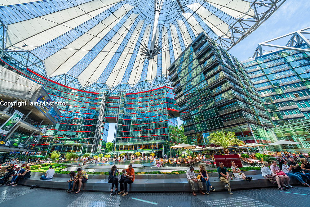Interior atrium of Sony Center in Potsdamer Platz in Berlin, Germany