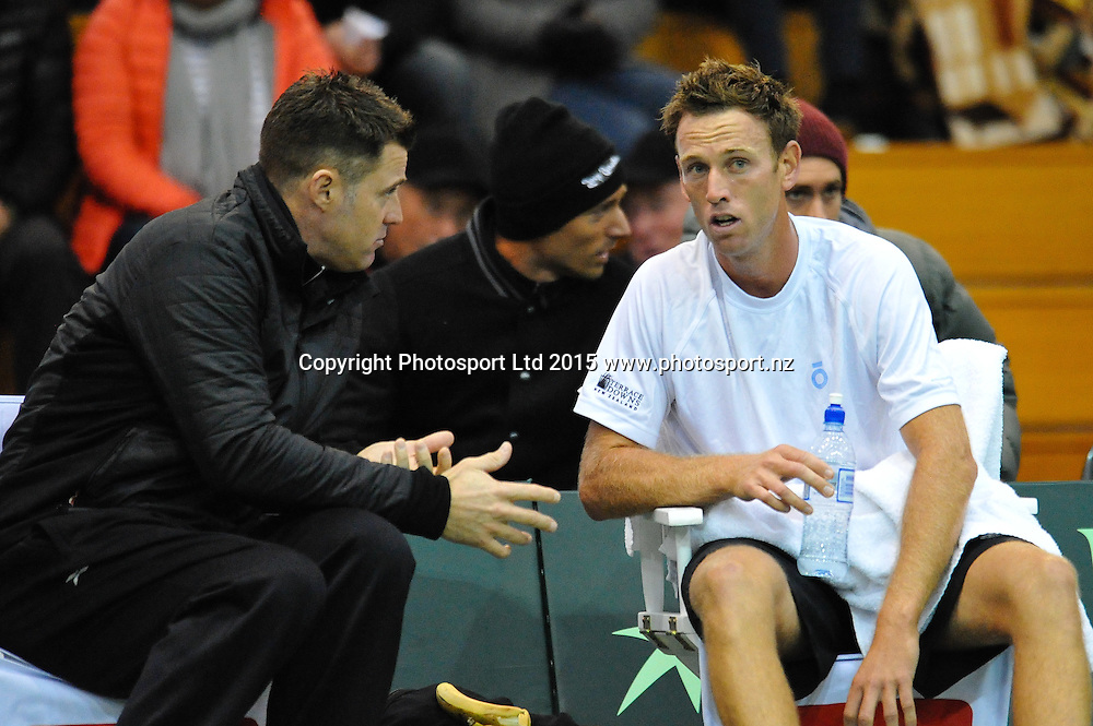 Michael Venus (l) with NZ captain Alistair Hunt  during the Davis Cup Tennis match, New Zealand v India, at The Z Energy Wilding Park Tennis Centre, Christchurch, New Zealand on the 17 July 2015. Copyright Photo: John Davidson / www.photosport.nz