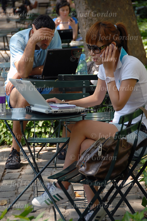 Bryant Park wireless network part of public internet project where people can use there laptops and be contected to the web