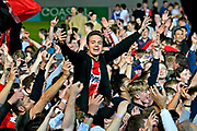Exeter City fans invade the pitch to celebrate after Exeter City beat Lincoln City 3-1 to book a place in the play off final at Wembley during the EFL Sky Bet League 2 match between Exeter City and Lincoln City at St James' Park, Exeter, England on 17 May 2018. Picture by Graham Hunt.