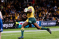 SYDNEY, AUSTRALIA - SEPTEMBER 07: Marika Koroibete of the Wallabies on his way to score a try during the international rugby test match between the Australian Wallabies and Manu Samoa on September 07, 2019 at Bankwest Stadium in Sydney, Australia. (Photo by Speed Media/Icon Sportswire)