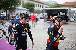 Julie Leth (DEN) and Jolien D'Hoore (BEL) of Wiggle Hi5 Cycling Team climb on the podium to sign on before Stage 1 of the Ladies Tour of Norway - a 101.5 km road race, between Halden and Mysen on August 18, 2017, in Ostfold, Norway. (Photo by Balint Hamvas/Velofocus.com)