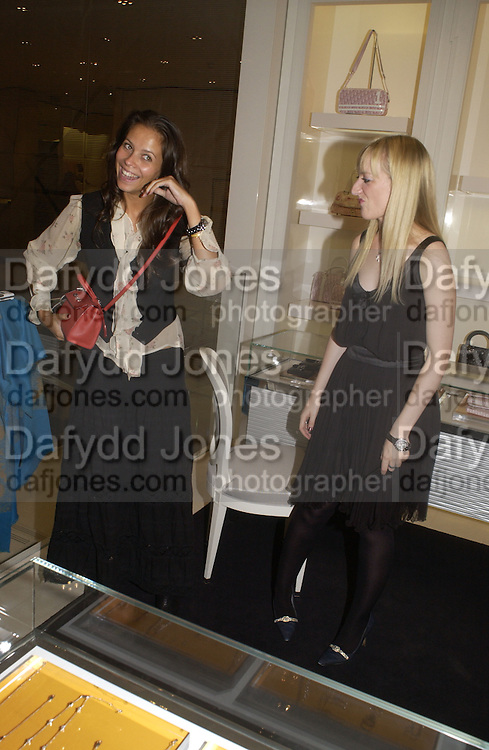Charlotte Stockdale and Camilla Morton. Camilla Morton book 'How To Walk In High Heels: The Girl's Guide To Everything.' launch party. Dior, 17 September 2005 . Saturday 17 September 2005.  ONE TIME USE ONLY - DO NOT ARCHIVE  © Copyright Photograph by Dafydd Jones 66 Stockwell Park Rd. London SW9 0DA Tel 020 7733 0108 www.dafjones.com
