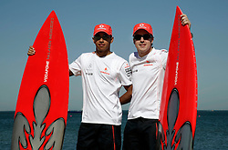 Melbourne. Australia - Sunday, March 17, 2007: Lewis Hamilton (R) and Fernando Alonso (Vodafone McLaren Mercedes) at a photo-call before the opening Grand Prix of the Formula One World Championship in Australia.(Pic by Michael Kunkel/Propaganda/Hoch Zwei)
