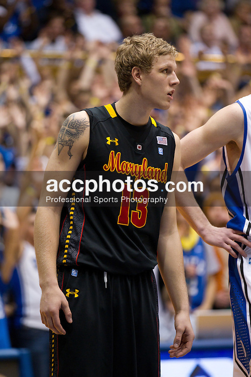 DURHAM, NC - JANUARY 09: Haukur Palsson #13 of the Maryland Terrapins waits for a foul shot to be taken while playing the Duke Blue Devils on January 09, 2011 at Cameron Indoor Stadium in Durham, North Carolina. Duke won 71-64. (Photo by Peyton Williams/Getty Images) *** Local Caption *** Haukur Palsson