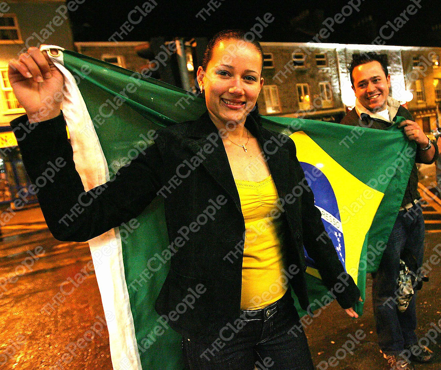 Brazil Fans Elaine Souza and Rodrigo Roche turning out for the Brazil V Republic of Ireland  in &quot;little Brazil&quot;,Gort Co Galway on Wednesday evening.<br /><br />Photogph by Eamon Ward
