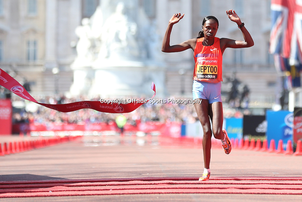 21st April 2013 - Virgin London Marathon - **** - Photo: Lee Mills / Offside.<br /> <br /> Priscah Jeptoo of Kenya wins the Elite Womens Race