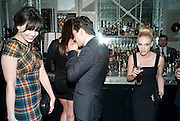 DAISY LOWE; DOMINIC COOPER; JANUARY JONES, Donatella Versace celebrates the launch of the CSM 20:20 Fund, at the Connaught Hotel, Mayfair, London, 11th November, 2010. -DO NOT ARCHIVE-© Copyright Photograph by Dafydd Jones. 248 Clapham Rd. London SW9 0PZ. Tel 0207 820 0771. www.dafjones.com.