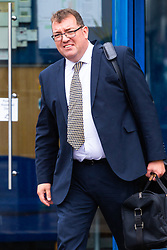Chorister Neil Williams, 48 leaves the Croydon Tribunal Service after day two of an ongoing hearing, where he is alleging Glyndebourne Opera bosses sacked him because he was too old. London, August 14 2019.