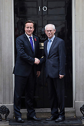 © licensed to London News Pictures. London, UK 25/10/2012. David Cameron (L) and European Council president Herman van Rompuy posing in Downing Street on 25/10/12. Photo credit: Tolga Akmen/LNP