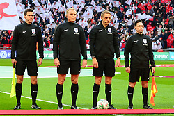 LINESMAN GARY BESWICK AND ANDREW NUNN WITH FOURTH OFFICIAL GRAHAM SCOTT AND REFEREE FOR THE GAME CRAIG PAWSON, Arsenal v Manchester City Carabao League Cup Final, Wembley Stadium, Sunday 25th February 2018, Score Arsenal 0- Man City 3.