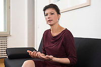 16 MAY 2016, BERLIN/GERMANY:<br /> Sahra Wagenknecht, MdB, Die Linke, Fraktionsvorsitzende DIe Linke Bundestagsfraktion, waehrend einem Interview, in ihrem Buero, Jakob-Kaiser-Haus, Deutscher Bundestag<br /> IMAGE: 20170516-02-037<br /> KEYWORDS: B&uuml;ro