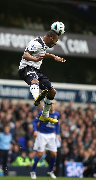 23/10/2010 Premier League football. Tottenham Hotspur v Everton.<br /> The ball lands flat on the head of Younes Kaboul.<br /> Photo: Mark Leech.