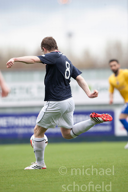 Falkirk's Blair Alston scoring their third goal.<br /> half time : Falkirk 3 v 0 Cowdenbeath, Scottish Championship game played today at The Falkirk Stadium.<br /> &copy; Michael Schofield.