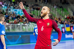 Pedro Cary of Portugal celebrate during futsal match between Portugal and Azerbaijan in Quaterfinals of UEFA Futsal EURO 2018, on February 6, 2018 in Arena Stozice, Ljubljana, Slovenia. Photo by Ziga Zupan / Sportida