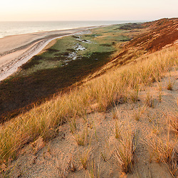 View from the dunes at Duck Harbor Beach in Wellfleet, Massachusetts. Cape Cod.