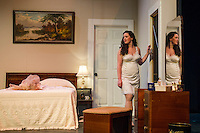 """Maggie (Jamie M. Clavet) during dress rehearsal for """"Cat On a Hot Tin Roof"""" with the Winnipesaukee Playhouse on Tuesday evening.  (Karen Bobotas/for the Laconia Daily Sun)"""