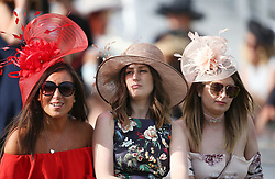 Female racegoers on Derby Day of the 2017 Investec Epsom Derby Festival at Epsom Racecourse, Epsom. PRESS ASSOCIATION Photo. Picture date: Saturday June 3, 2017. See PA story RACING Epsom. Photo credit should read: Steven Paston/PA Wire. RESTRICTIONS: Editorial use only any intended commercial use is subject to prior Epsom Downs Racecourse approval. No Private Sales.