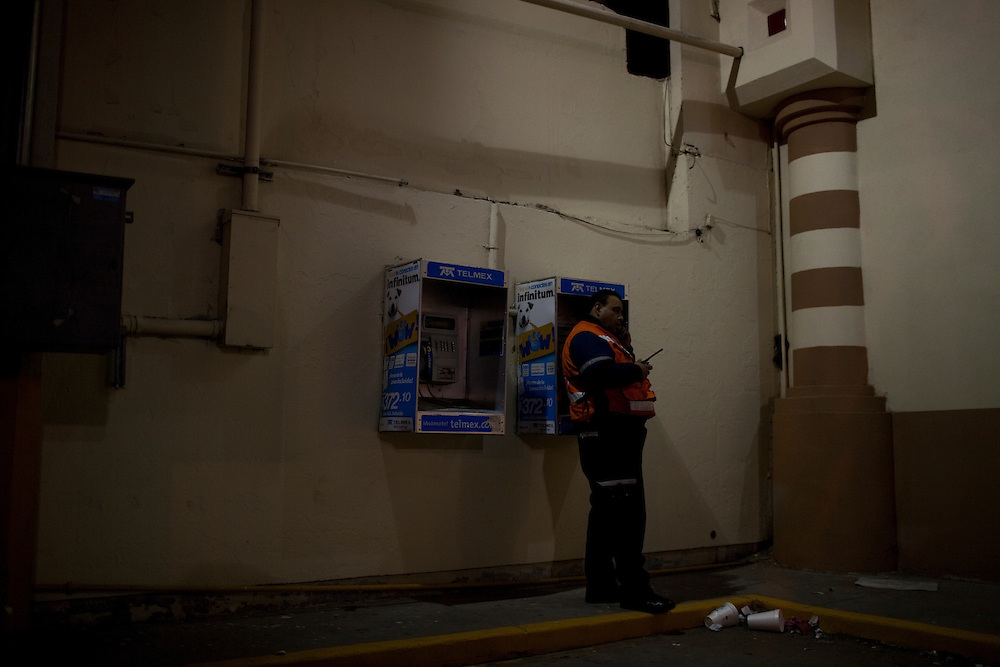 A members of the Rescate (Juarez's Rescue team) makes a call to an operator when his radio is not working in Ciudad Juarez, Chihuahua Mexico on May 2, 2010.