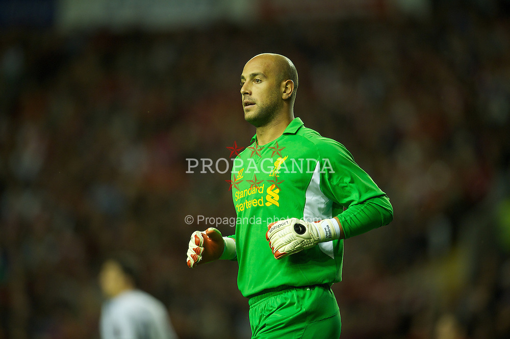 LIVERPOOL, ENGLAND - Thursday, August 30, 2012: Liverpool's goalkeeper Jose Reina in action against Heart of Midlothian during the UEFA Europa League Play-Off Round 2nd Leg match at Anfield. (Pic by David Rawcliffe/Propaganda)