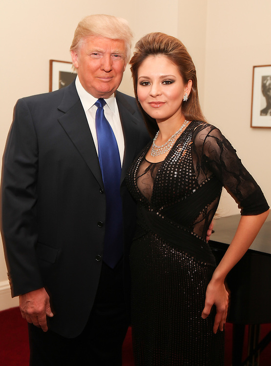 "NEW YORK - JANUARY 19:  Donald Trump and pianist Lola Astanova pose backstage Lola's performance of ""A Tribute to Horowitz"" presented by the American Cancer Society at Carnegie Hall on January 19, 2012 in New York City.  (Photo by Matthew Peyton/Getty Images) *** Local Caption *** Donald Trump; Lola Astanova"