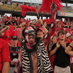 25 October 2008: A painted up Georgia Bulldogs fan celebrated at the end of the Georgia Bulldogs 52-38 victory over the LSU Tigers at Tiger Stadium in Baton Rouge, LA.