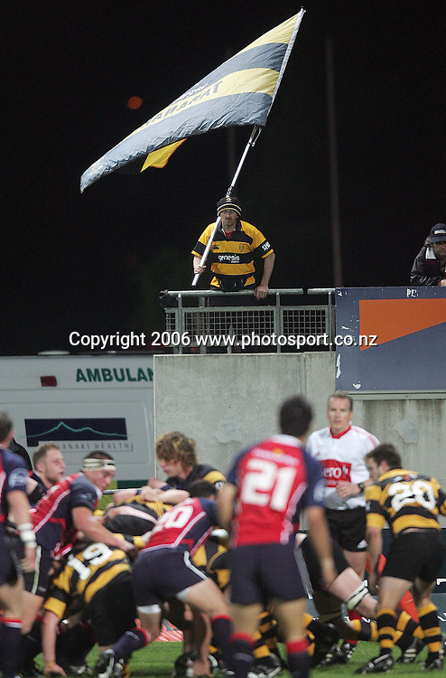 A Taranaki fan watches over his team during the Air NZ Cup rugby match between Taranaki and Tasman at Yarrow Stadium, New Plymouth, New Zealand on Saturday 30 September, 2006. Photo: Marty Melville/PHOTOSPORT