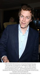 TOM PARKER BOWLES son of Camilla Parker Bowles,  at a dinner in London on 19th March 2003.	PIE 78