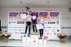 Nicole Hanselmann (SUI) of Cervélo-Bigla Cycling Team celebrates her win on the podium with second placed Thalita de Jong (NED) (L) and  third Lucinda Brand (NED) of Rabo-Liv Cycling Team (R) after the 76,1 km first stage of the 2016 Ladies' Tour of Norway women's road cycling race on August 12, 2016 between Halden and Fredrikstad, Norway. (Photo by Balint Hamvas/Velofocus)