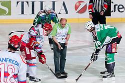 First faceoff during ice-hockey match between HDD Tilia Olimpija and HK Acroni Jesenice in second game of Final at Slovenian National League, on April 3, 2011 at Hala Tivoli, Ljubljana, Slovenia. (Photo By Matic Klansek Velej / Sportida.com)