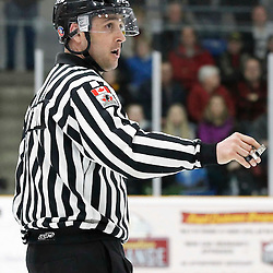 TRENTON, - Mar 29, 2016 -  Ontario Junior Hockey League game action between the Trenton Golden Hawks and the Kingston Voyageurs. Game 1 of the North East Champonship series, OHA Linesman Watson during the third period at the Duncan Memorial Gardens, ON. (Photo by Amy Deroche / OJHL Images)