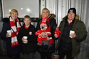 Middlesbrough fans at Rodney Parade before the The FA Cup match between Newport County and Middlesbrough at Rodney Parade, Newport, Wales on 5 February 2019.