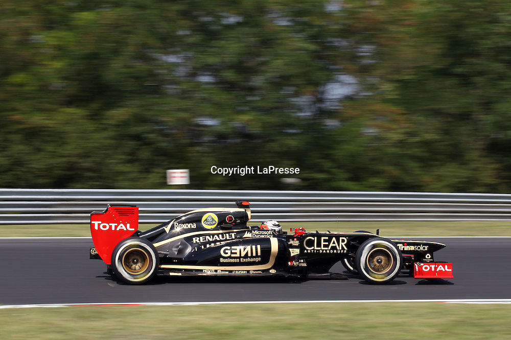 &copy; Photo4 / LaPresse<br /> 28/7/2012 Budapest<br /> Sport <br /> Hungarian Grand Prix, Hungaroring 26-29 July 2012<br /> In the pic: Kimi Raikkonen (FIN), Lotus F1 Team E20