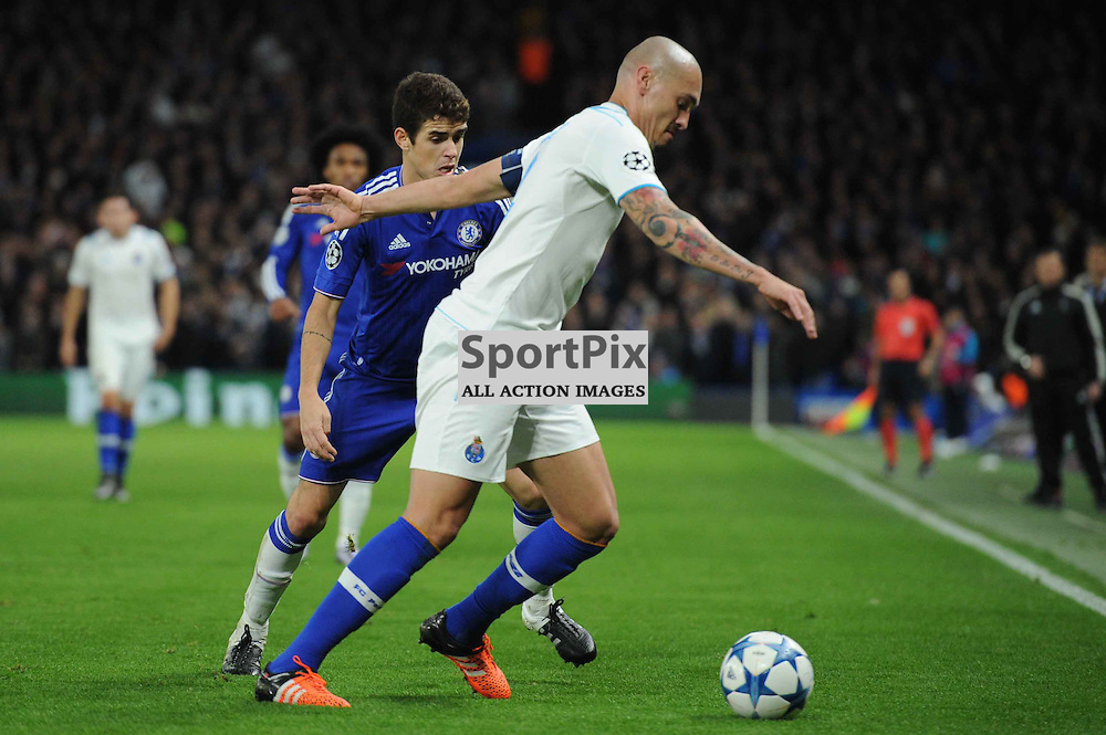 Chelseas Oscar and FC Portos Maicon in action during the Chelsea v FC Porto Champions League match in the group stage on the 9th December 2015.