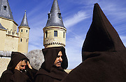 SPAIN / Castile and Leon / Segovia. Medieval recreations in Spain. The city recreated in 2004 the coronation of Isabel I of Castile. Monks in front of the Alcazar.....