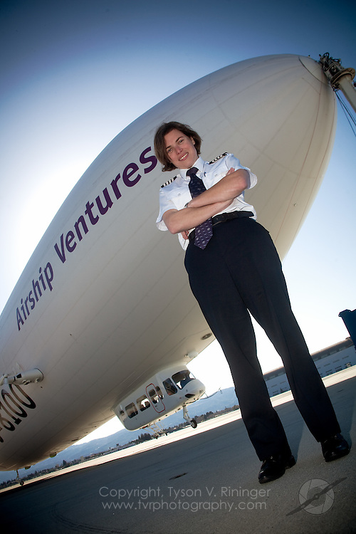 Photoshoot for PilotMag Magazine of Airship Ventures Zeppelin NT along with the only female Airship pilot at the time, Kate Board.