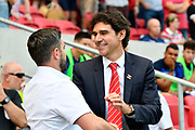 Bristol City manager Lee Johnson shakes hands with Nottingham Forset manager Aitor Karanka before the EFL Sky Bet Championship match between Bristol City and Nottingham Forest at Ashton Gate, Bristol, England on 4 August 2018. Picture by Graham Hunt.